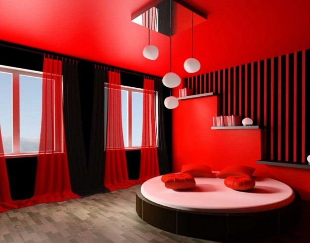 Black And Red Curtains For Beautiful Bedroom With Round Queen Bedset