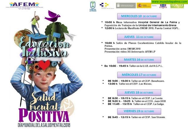 AFEM-LP y el Excmo. Cabildo Insular de La Palma presentan el programa de actos del Día Mundial de Salud Mental 2018
