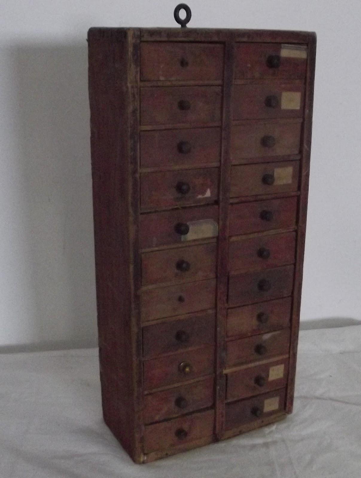 Canastilla relojero mueble arte antiguo 22 cajones madera ...