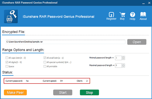 recover rar password with rar password genius
