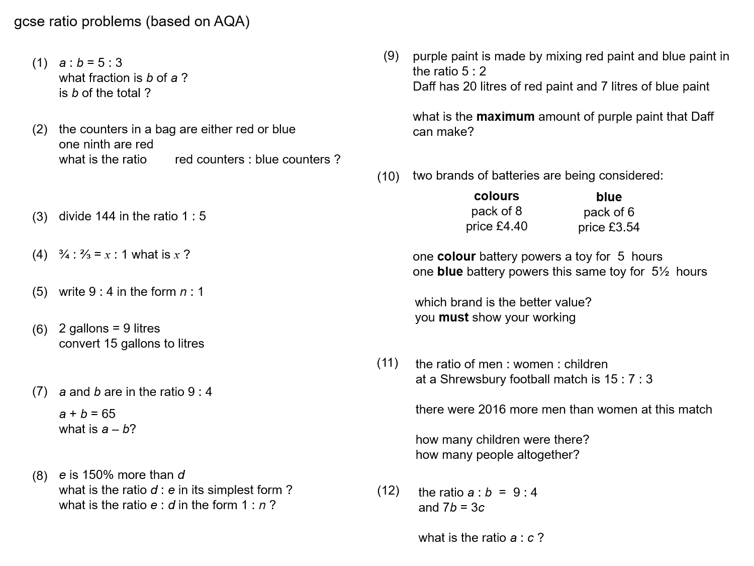 Median Practice And Quiz Questions Ratio And Proportion