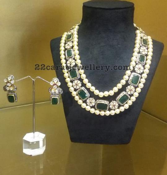Pachi Work Emerald Pearls Set