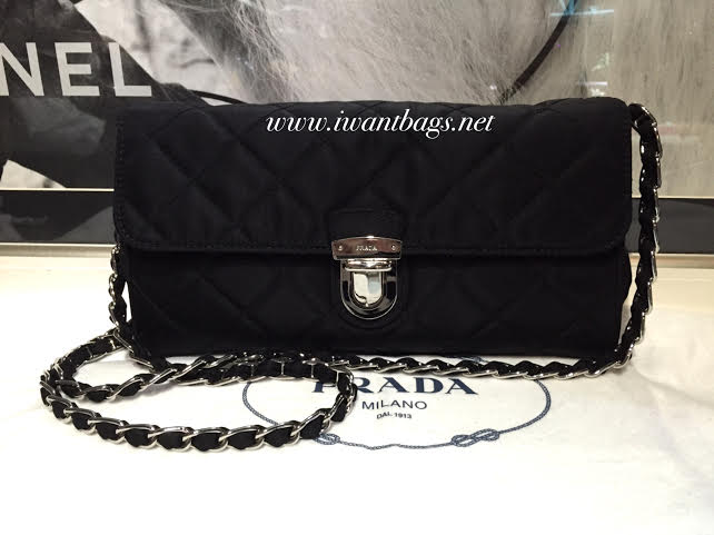 c5f7d55072 Prada BP0584 Tessuto Impuntu Clutch Sling Bag-Black