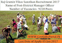 Gramin Vikas Sansthan Recruitment 2017 For 9220+ District Manager & Assistant Post