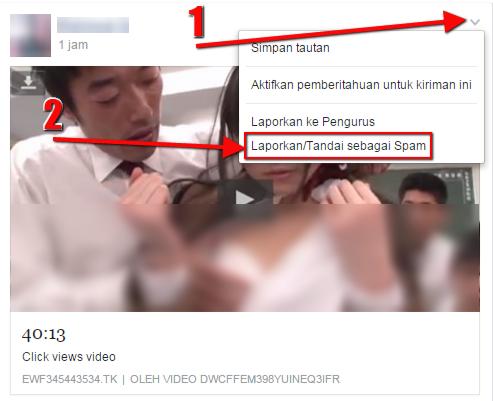 Cara Melaporkan SPAM Tautan Pornografi di Facebook - Step 1