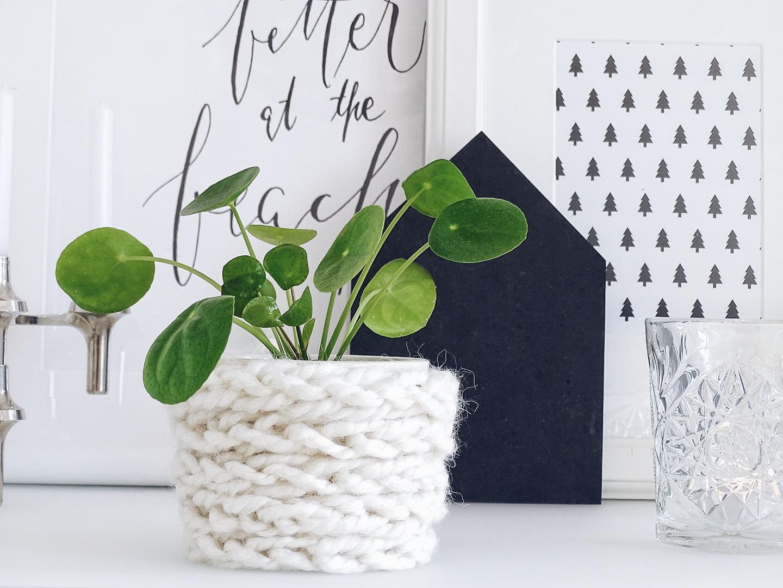 Blumentöpfe mit Wolle und Fingerstricken aufhübschen - 12 DIY-Nachmach-Ideen, Deko-Inspirationen und Rezepte für den November - https://mammilade.blogspot.de
