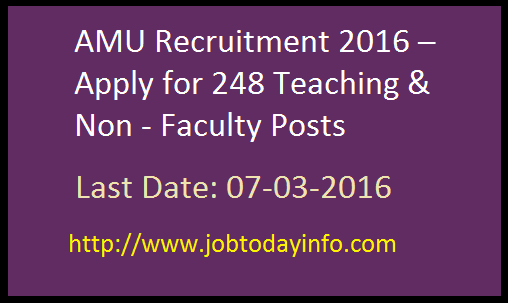 AMU Recruitment 2016 – Apply for 248 Teaching & Non - Faculty Posts