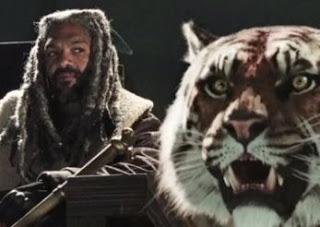 Imagem de Ezekiel, líder de Reino TWD com o tigre