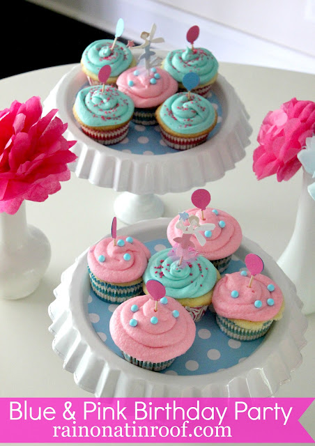 A Stylish Blue & Pink 1st Birthday Party {rainonatinroof.com} #party #birthday #DIY #craft #birthdayparty #blue #pink #1st #firstbirthday #girl #babygirl