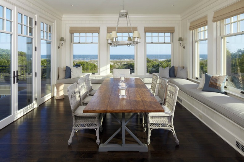 coastal dining room with ocean view