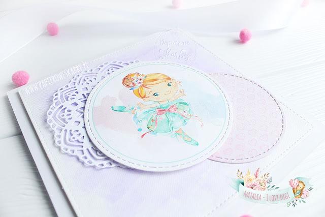 kartka karteczka handmade scrapbooking digi stempel i love digi cardmaking baletnica balerina ballet dancer dance ballerina urodzinowa prezent imieninowa dla dziewczynki