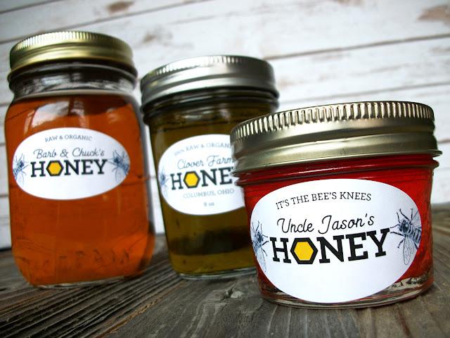 Custom Honeycomb Oval Honey Jar Labels