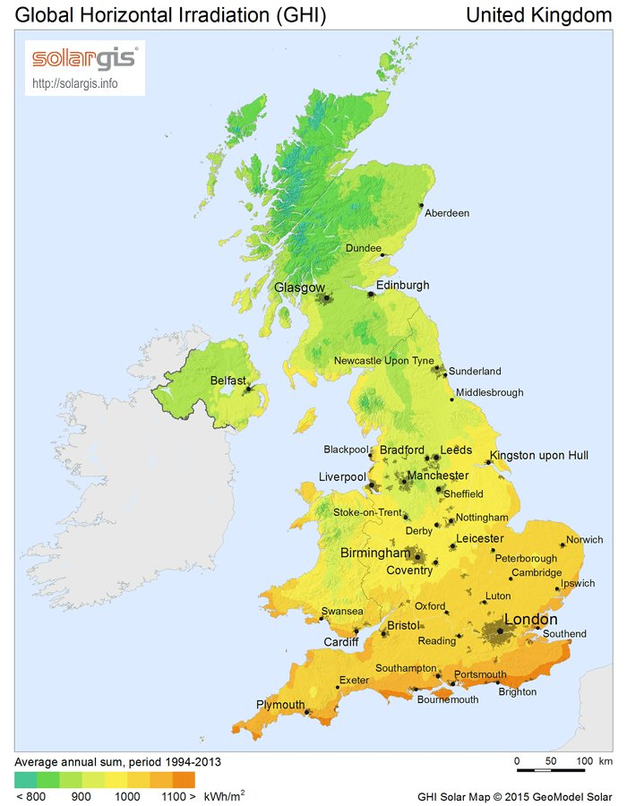 Solar PV Energy Potential Map of the United Kingdom