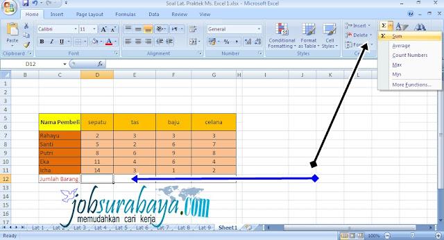 Cara menjumlahkan secara otomatis nilai / angka  pada Microsoft excel