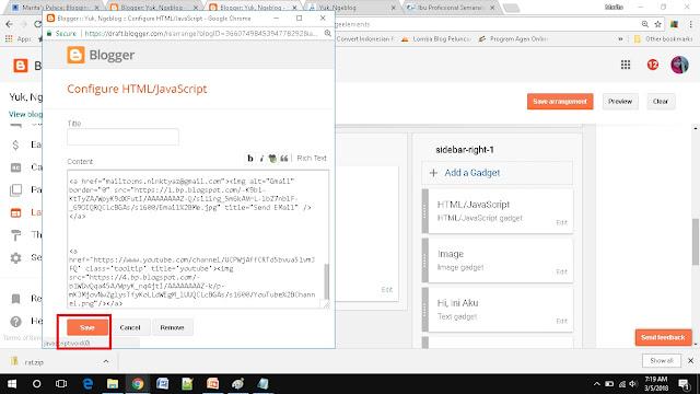 cara mudah menambah social media button di blogspot gadget save kode html