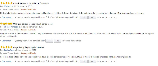 opiniones guia redactor freelance amazon
