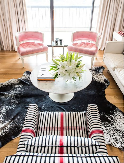 black and pink white striped chair interior decorating