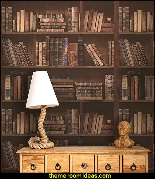 Library Book Bookshelves Antique Bookcase Self-adhesive Peel-stick Wallpaper