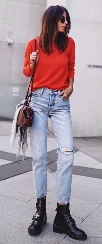 how to style a red top : bag + ripped jeans + boots