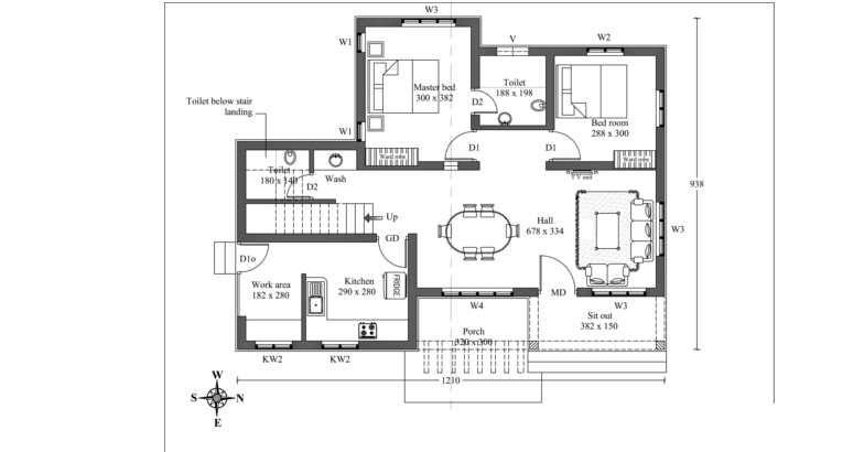 2 bedroom cute low cost effective kerala dream home in for Low cost veedu plans