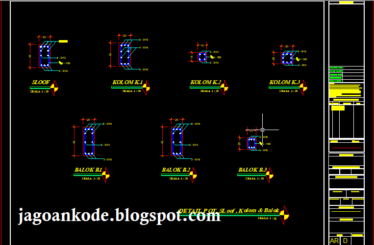 Detail Potongan Sloof Kolom Balok Autocad Dwg File