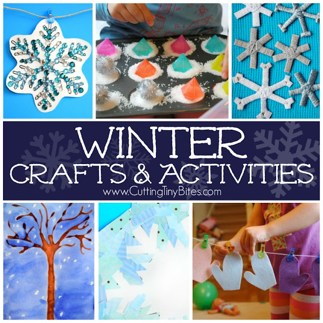 Winter crafts and activities for preschool, kindergarten, and elementary kids. Includes book lists, healthy snacks, fine motor and gross motor activities, and more!