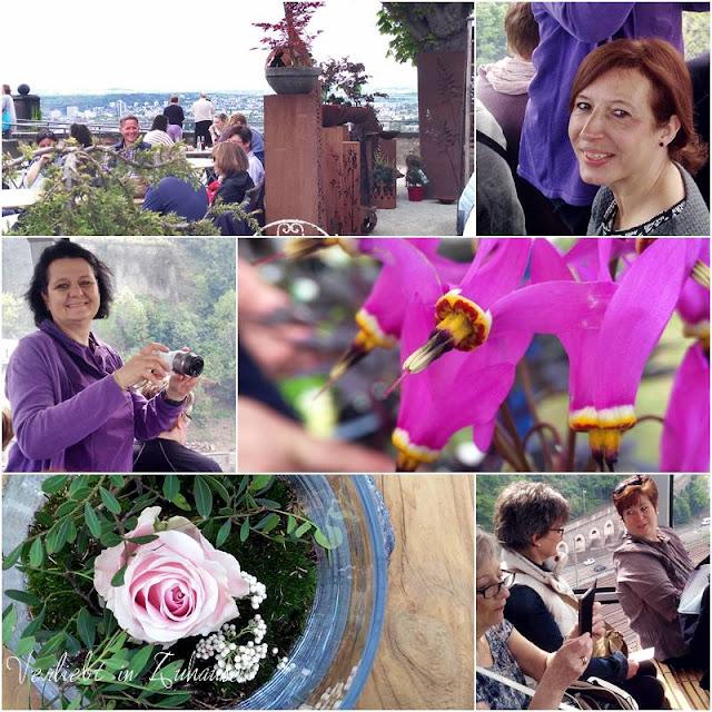 Bloggertreffen Koblenz: Bianca und Biggi sammeln Eindrücke von der Landpartie mit den vielen Blumen und Gartendeko