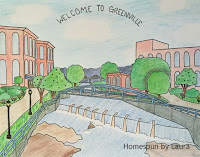 homespun by laura, daily doodle, downtown, downtown greenville, sc, greenville, reedy river falls, falls park on the reedy