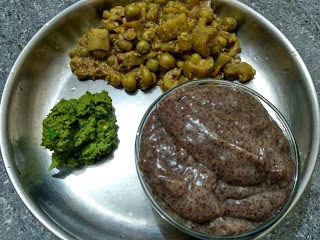 Sprouted Finger millet kali, Mint chutney, Ridge gourd Turkey berry curry