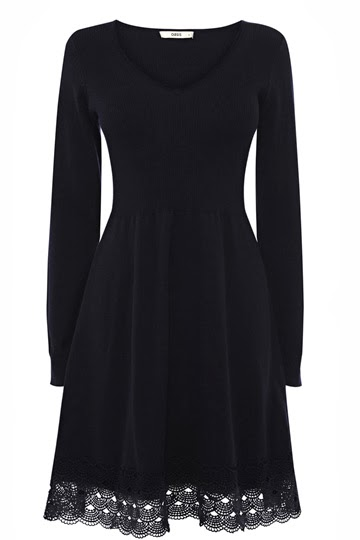 Lace trim knitted skater dress from Oasis