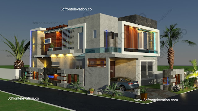 3d Front Elevation Corner House : D front elevation corner modern house design