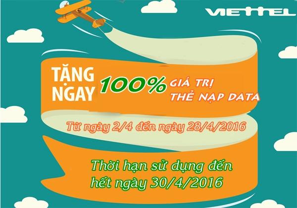 Viettel khuyến mãi  tặng 100% thẻ nạp data từ 2 - 28/4