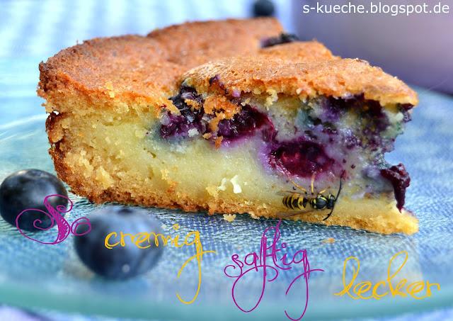 Custard filled  Blueberry Cornbread / Maiskuchen mit Blaubeeren