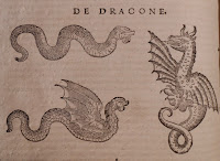 Wood cut image of three dragons. The one dragon is a snake-like serpent, another has wings and is in flight, and a third has wings and is rearing up.
