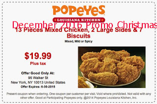 free Popeyes Chicken coupons december 2016