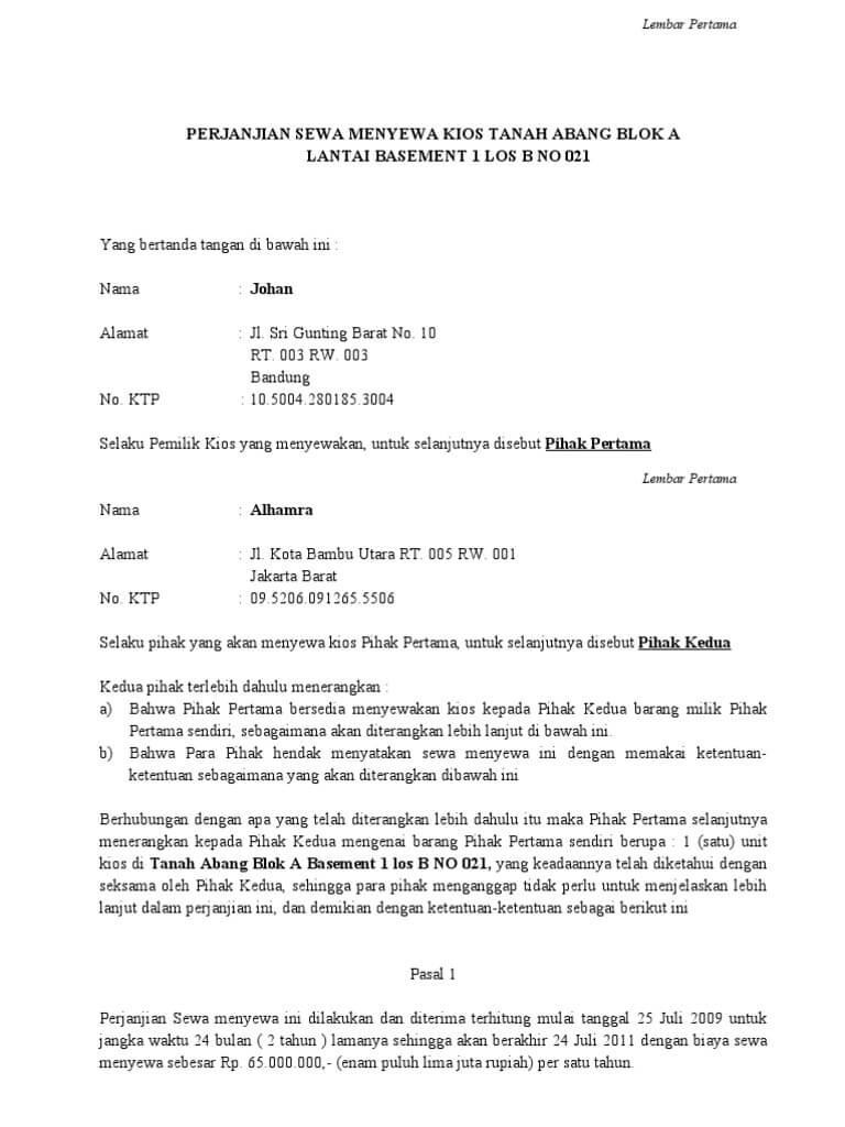 contoh surat perjanjian kontrak ruko