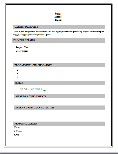 basic resume format sample - Samples Of Simple Resumes