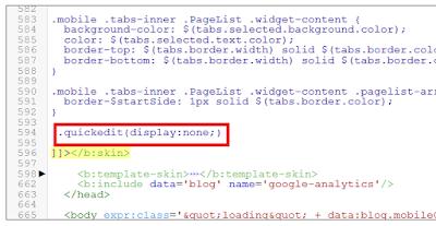 nonaktifkan menu edit cepat blogspot