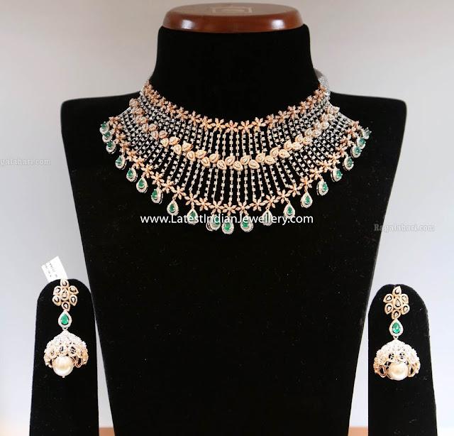 Floral Diamond Choker Jhumkas