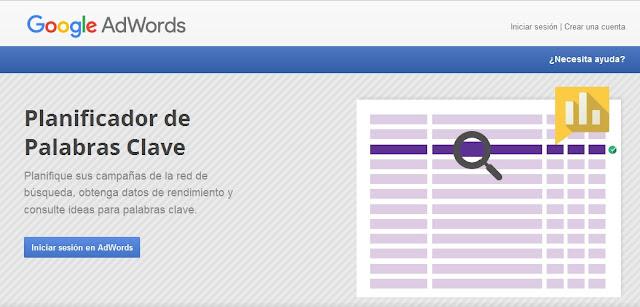 Google Adwords Planificador de Palabras Clave
