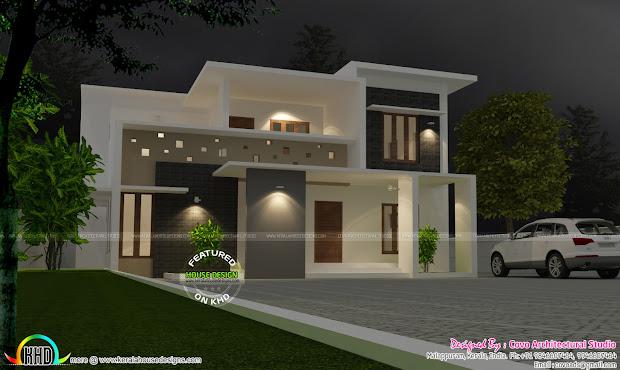Grand Flat Roof Villa Home - Kerala Design