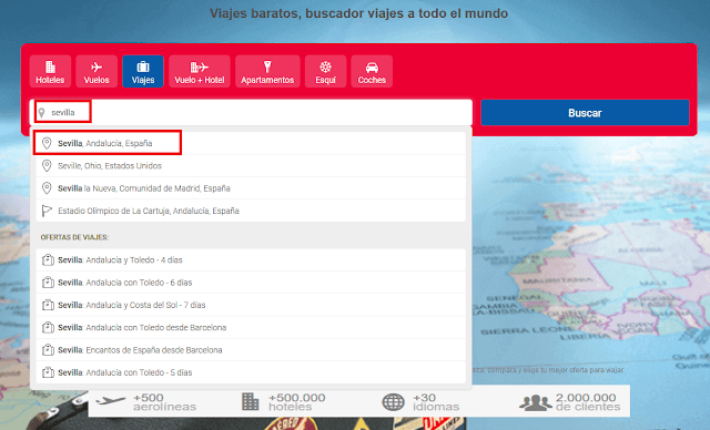 Buscar viaje barato a Sevilla en buviba