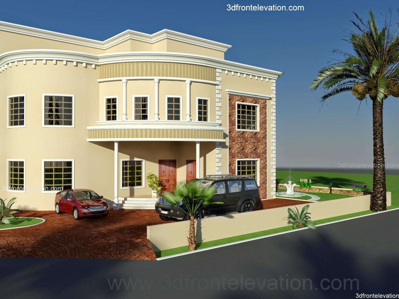 3d front oman new arabian villa plan design. Black Bedroom Furniture Sets. Home Design Ideas