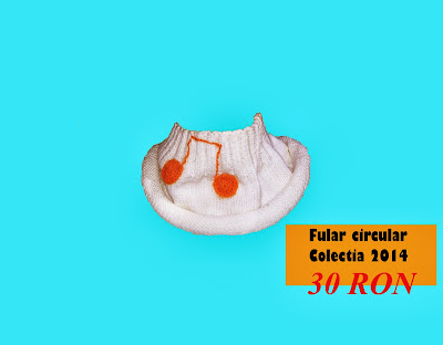 fular 2014 model handmade alb portocaliu tricotat