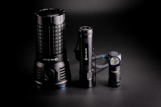 Od lewej Olight X7 Marauder, Olight S2R Baton, Olight H1 Nova