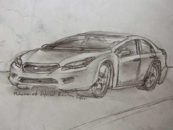 Contoh gambar mobil dengan pensil yang keren diarsir