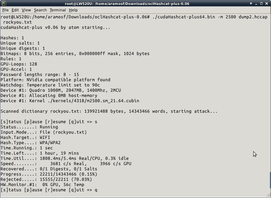 Usando la GPU para crackear la contraseña de WPA/WPA2-PSK
