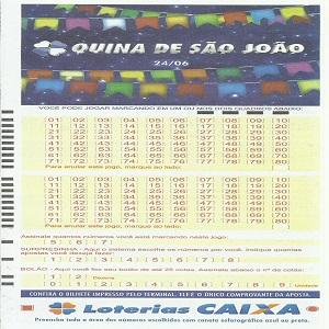 Quina 4412 São João 2017 resultado 24/06/2017