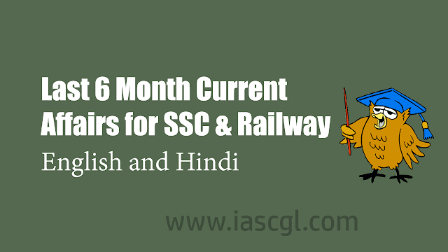 Last 6 Month Current Affairs for SSC and Railway Exams