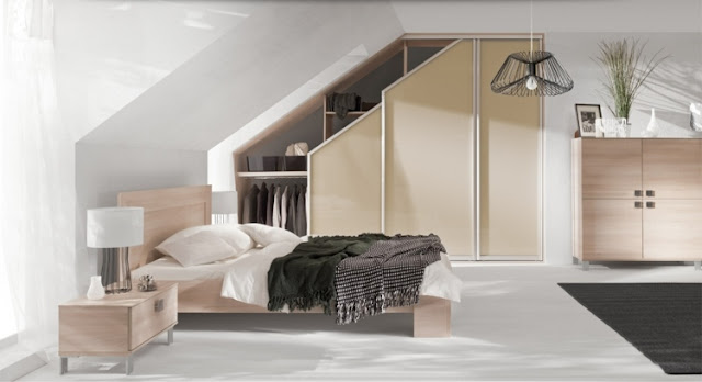 Cupboard under slope modern custom design in the bedroom